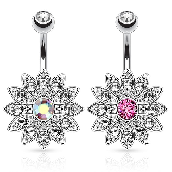 Paved Gems Flower with Center CZ 316L Surgical Steel Navel Ring