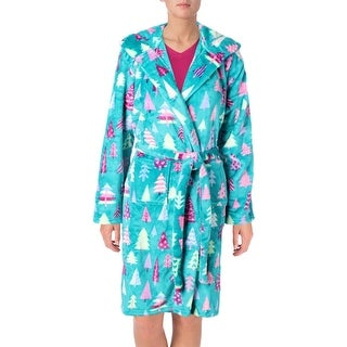 Little Blue House by Hatley Patterned Trees Wrap Robe Fleece Graphic