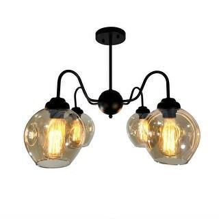 4 light antique glass semi flush mount vintage industrial ceiling light