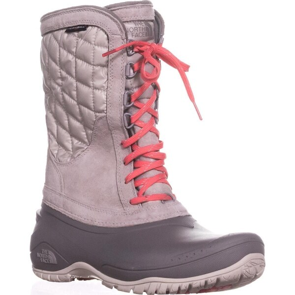 The North Face Thermoball Utility Quilted Winter Boots, Dove Grey/Calypso Coral