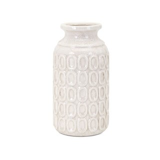 IMAX Home 32131  Eleanor Medium Ceramic Vase - White
