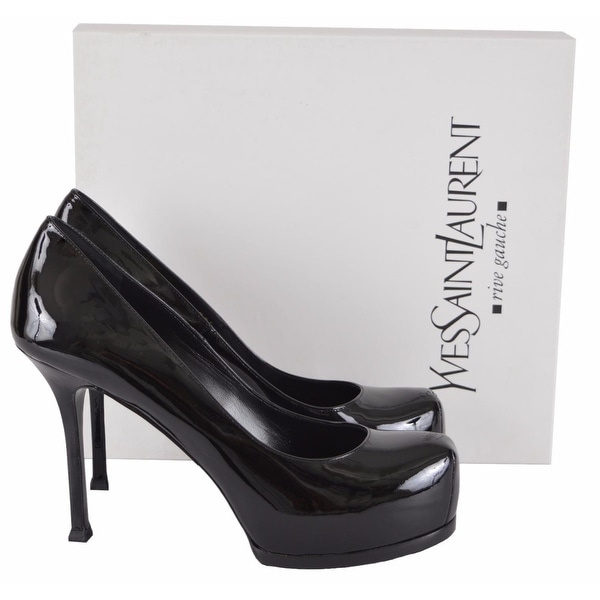 YSL Saint Laurent 209947 Patent Leather Tribtoo 80 Platform Pumps Shoes 42da227552d4
