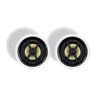 Monoprice In-Ceiling 2 Way Speakers - 6.5 Inch (pair) With Aramid Fiber And Titanium Silk Drivers - Caliber Slim Series