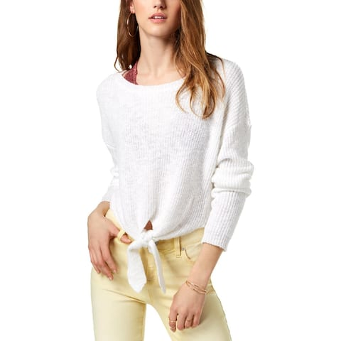 One Hart Womens Juniors Pullover Sweater Knit Front Sheer - L