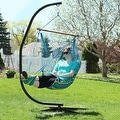 Sunnydaze Hanging Soft Cushioned Hammock Chair with Footrest & C-Stand - Thumbnail 2