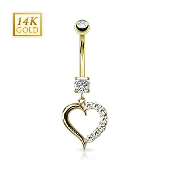 """14 Karat Solid Yellow Gold Clear CZ Journey Heart Navel Belly Button Ring - 14GA 3/8"""" Long"""