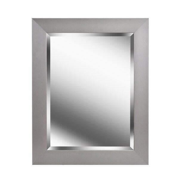 """Kenroy Home 60361 Drake 29.19"""" x 23.19"""" Rectangular Beveled Wall Mounted Mirror - Brushed Steel"""