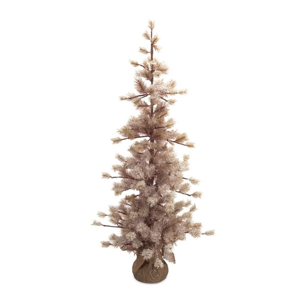 """Set of 2 Rustic Frosted Christmas Twig Trees with Burlap Base 48"""""""