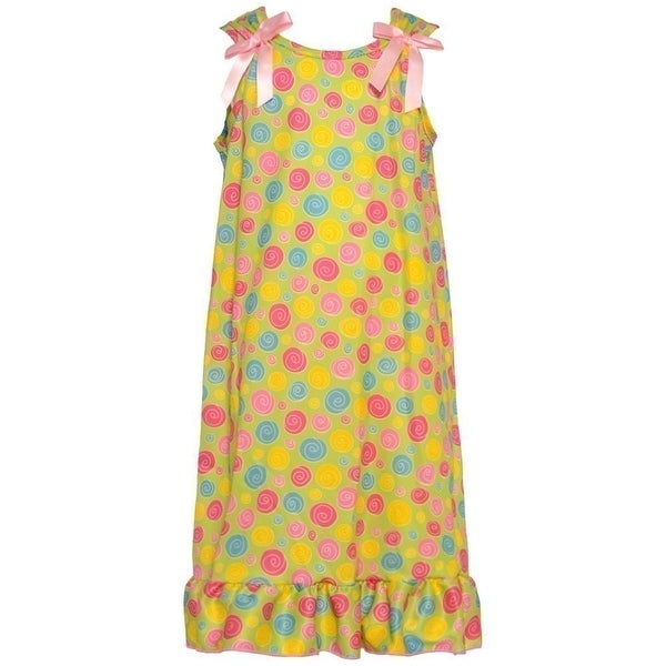 b31c510054 Shop Little Girls Light Green Snail Pattern Bows Attached Ruffle Nightgown  2T - Free Shipping On Orders Over  45 - Overstock.com - 18172141