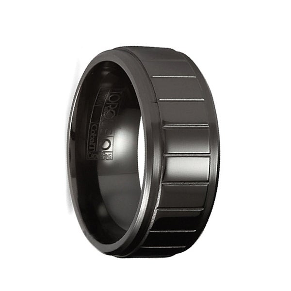 RESETTI Torque Black Cobalt Wedding Band Polished Vertical Etched Accents Beveled Edges by Crown Ring - 9 mm