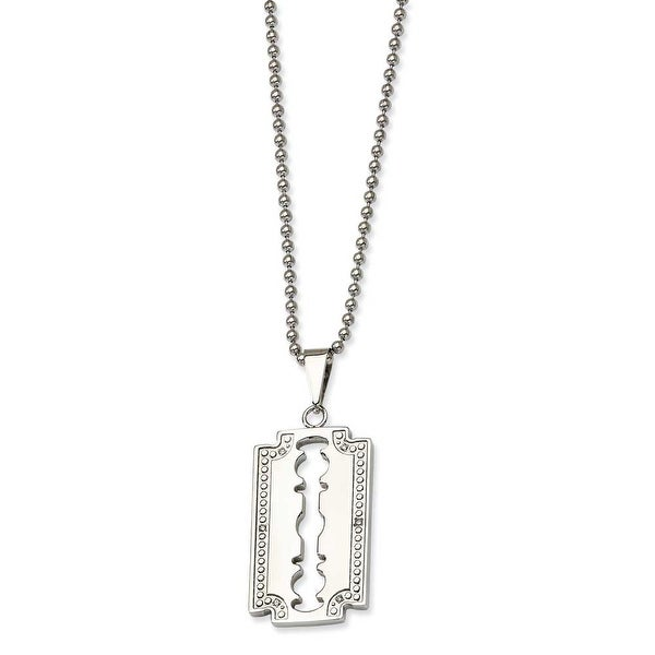 Chisel Stainless Steel and Diamond Razor Blade Necklace (2 mm) - 24 in