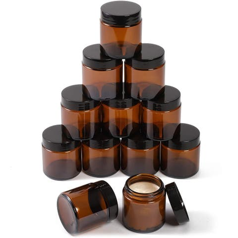 12 Pack 4 oz Amber Glass Jars with Lids and 6 Spatulas for Storing Makeup Liquid