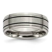Titanium Enameled Flat 8mm Satin & Polished Band