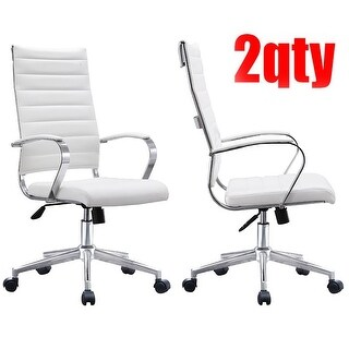 2xhome Set of Two (2) Modern White High Back Office Chair Ribbed PU Leather Swivel Tilt Computer Desk Cushion Seat Boss