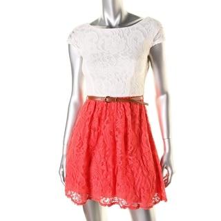 B. Darlin Womens Juniors Party Dress Lace Colorblock - 5/6