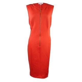 Calvin Klein Women's Zip Scuba Knit Sheath Dress - spicy orange