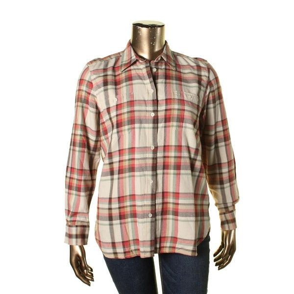 Ralph Lauren Womens Button-Down Top Cotton Plaid