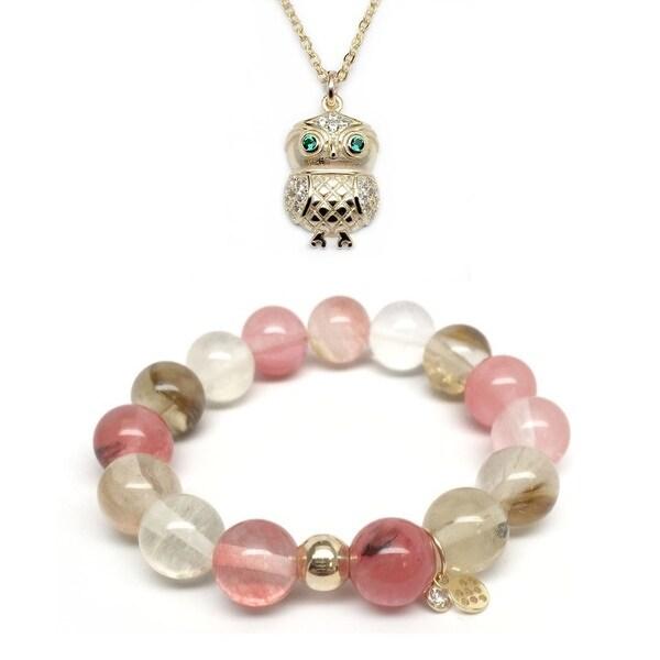 Pink Cherry Quartz Bracelet & Owl Gold Charm Necklace Set