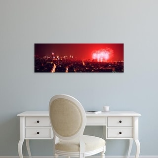 Easy Art Prints Panoramic Image 'Fireworks display over a city, New York City, New York, USA' Canvas Art