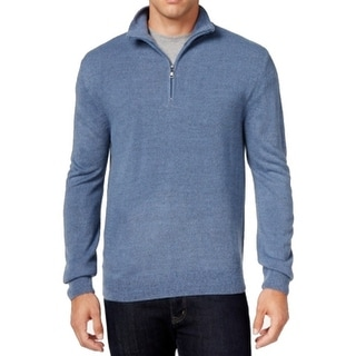 Weatherproof NEW Blue Mens Size Large L Marled Quarter Zip Knit Sweater