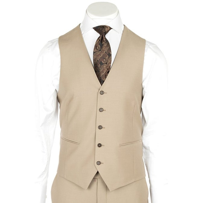 6804f8a8e9ff Shop Tufo, Modern Fit, Tan, Pure Wool Suit & Vest by Tiglio Luxe TIG1004 -  Free Shipping Today - Overstock - 23016478