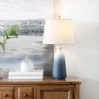 "Safavieh Lighting 23-inch Narem White/ Blue LED Table Lamp - 12"" W x 12"" L x 23"" H"