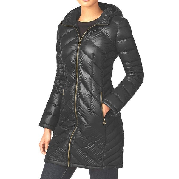 5a7a0d75401d Shop MICHAEL Michael Kors Packable Down Puffer Coat Black - M - Free  Shipping Today - Overstock - 26887351