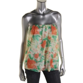Alice + Olivia Womens Silk Printed Strapless Top
