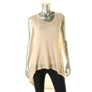 The Fisher Project Womens Hi-Low Ribbed Trim Tank Top