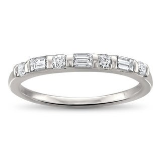 Link to Montebello 14KT White Gold 1/3t TDW Baguette-cut Diamond Wedding Band Similar Items in Wedding Rings
