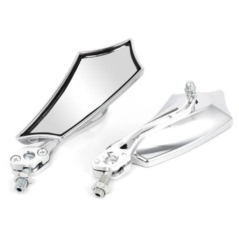 Unique Bargains Pair Motorcycle Silver Tone Plastic Shell Side Rear View Blind Spot Mirrors