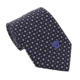 Versace Navy Blue Woven Floral Neat Tie
