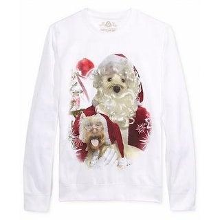 American Rag NEW White Mens Large L Santa Dog Graphic Crewneck Sweater