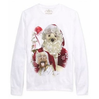 American Rag NEW White Mens Medium M Santa Dog Graphic Crewneck Sweater