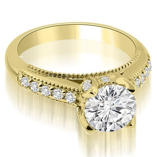 1.05 cttw. 14K Yellow Gold Cathedral Milgrain Round Cut Diamond Engagement Ring