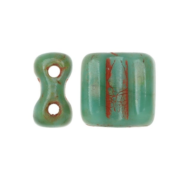 Czech Glass Groovy Tiles, 2-Hole Beads with Wavy Surface 6mm, 40 Pieces, Green Turquoise Dark Travertine
