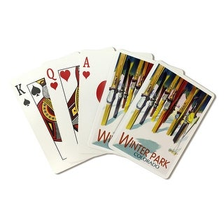 Winter Park, Colorado - Colorful Skis - Lantern Press Artwork (Playing Card Deck - 52 Card Poker Size with Jokers)