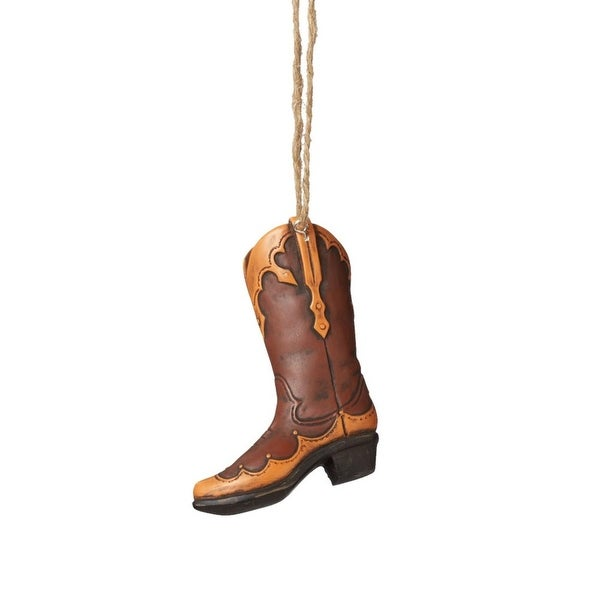 "3.5"" Wild West Brown and Orange Decorative Cowboy Boot Christmas Ornament"