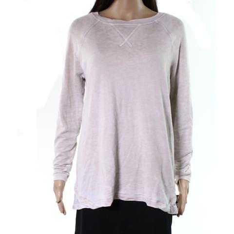 Allen Allen Beige Bone Womens Size XS Split Back Floral Knit Top