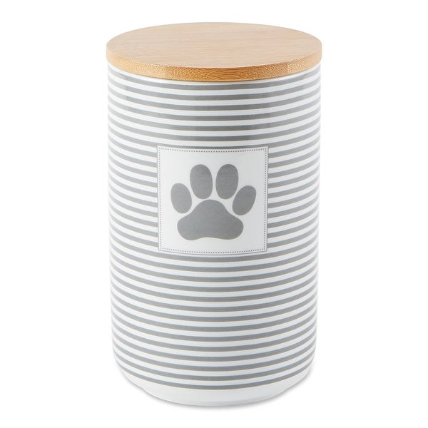 DII Gray Stripe With Paw Patch Ceramic Treat Canister. Opens flyout.