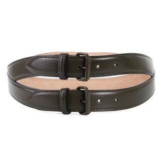 Roberto Cavalli Olive Green Spiral Stitched Double Leather Belt