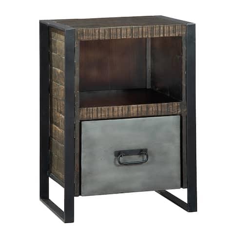 Hekman Acacia Wood Iron Single Drawer Filing Cabinet