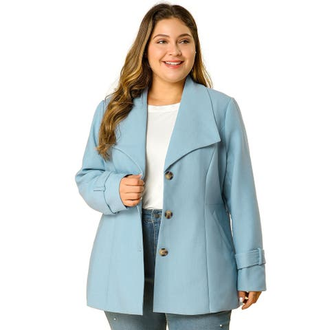 Women's Plus Size Single Breasted A-Line Skater Mid Thigh Belted Coat - Light Blue