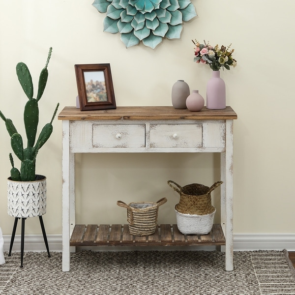 Distressed White Wood Vintage 2-drawer Console Table with Natural Wood Top. Opens flyout.