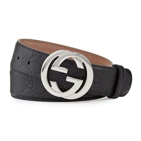 Authentic Gucci Black Leather Interlocking Shiny Silver Logo Buckle Belt