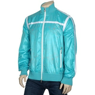 RSRV by Enyce Mens Zip Up Windbreaker X-Large XL Aqua Print Jacket Euro 54