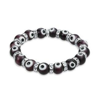 Evil Eye Beads 10mm Purple Stretch Crystal Bracelet 7.5in Silver Plated