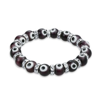 Evil Eye Beads 10mm Purple Stretch Crystal Bracelet 7.5in Silver Plated