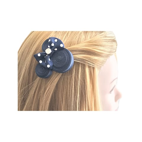 Mimos by Tia Girls Navy Dotted Bow Accented Ear Shaped Minnie Hair Clippie - One Size