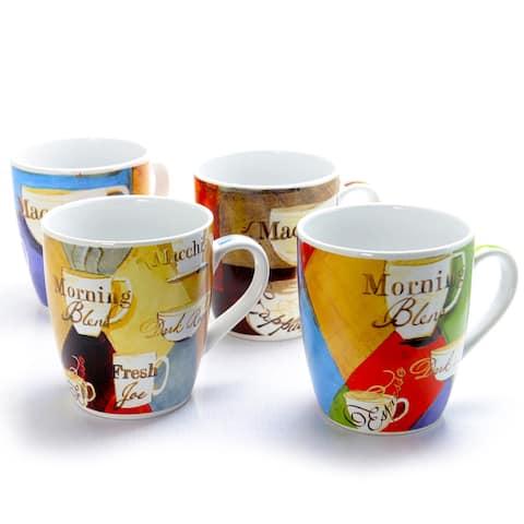 Gibson Home Cuppa Joe 4 Piece 27 Ounce Stoneware Mug Set in Assorted Designs
